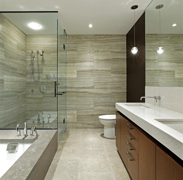 Penthouse loft renovation modern bathroom toronto by wanda ely architect inc for Photos of contemporary bathrooms