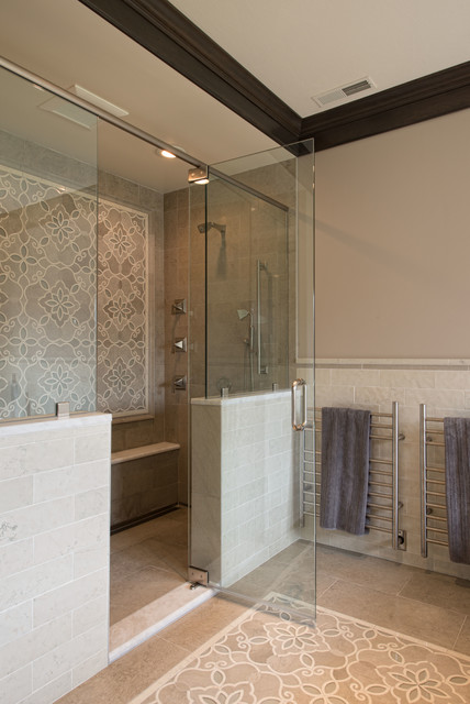Example Of A Huge Classic Master Mosaic Tile And Beige Tile Doorless Shower  Design In Boston. Email Save. Granite State Cabinetry