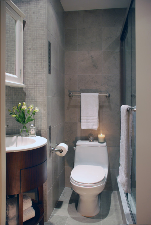 Beautiful Small Spaces. Contemporary Bathroom by New York Interior Designers & Decorators Peter S. Balsam Associates