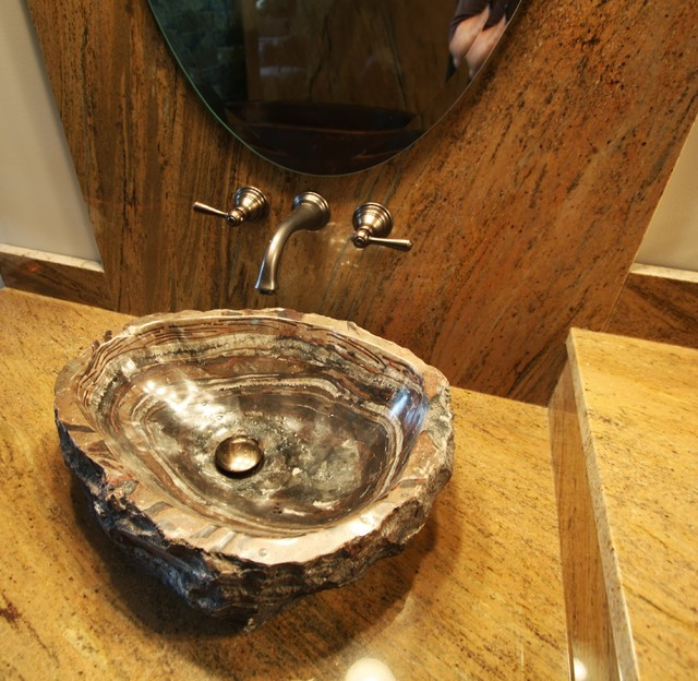 Petrified Wood Sink Rustic Bathroom Cleveland By