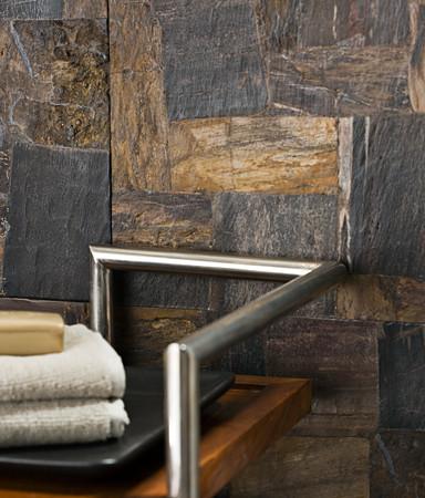 Petrified Wood Tile Bathroom