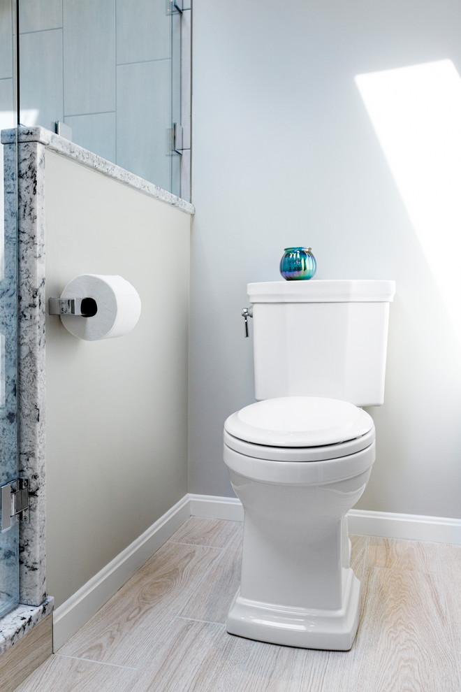 Pewter & Grey Stone Mosaic Master Bathroom - Transitional ...