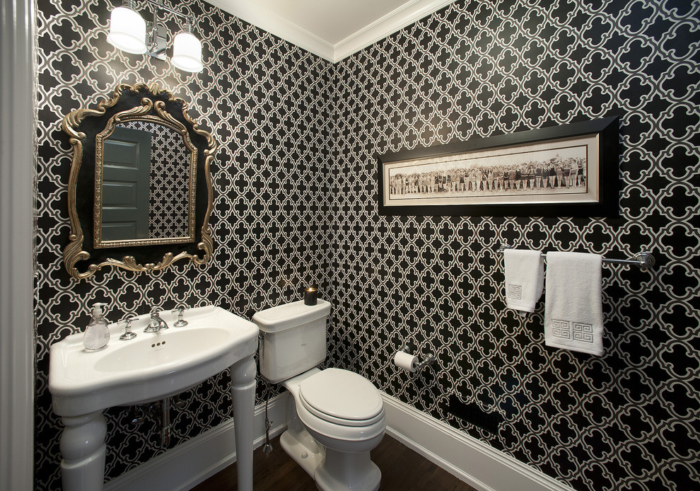 Inspiration for a contemporary bathroom remodel in Philadelphia with a console sink and black walls