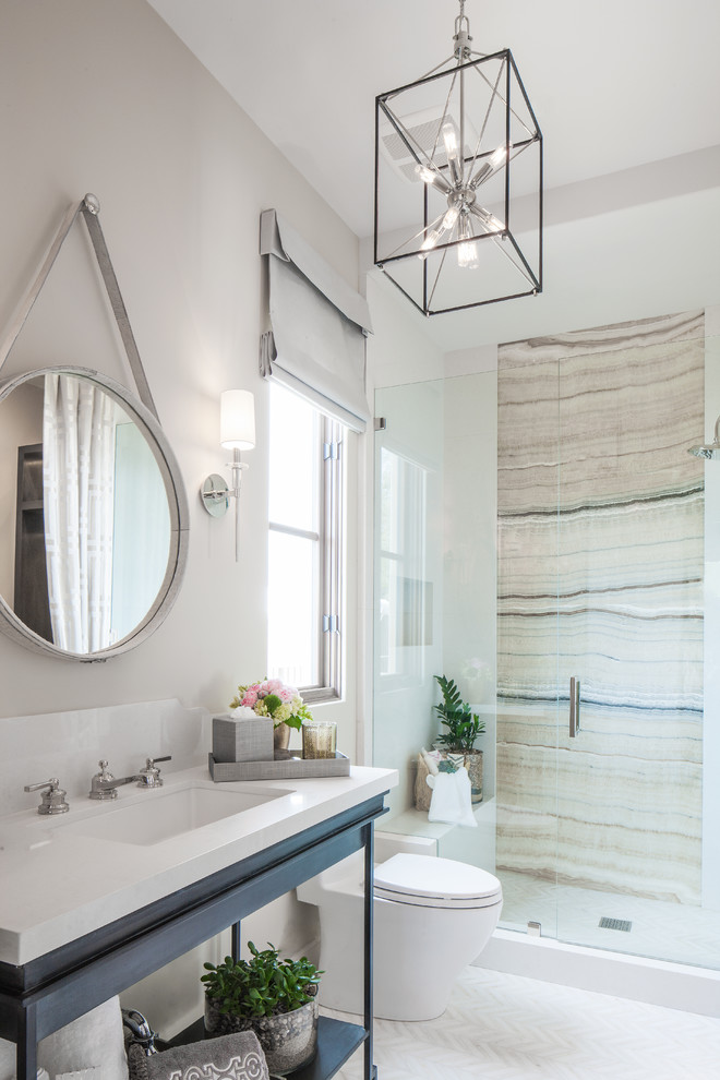 Alcove shower - coastal multicolored tile alcove shower idea in Orange County with white walls, an undermount sink, quartz countertops, open cabinets and a one-piece toilet