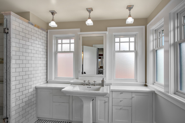 Bathroom   Craftsman Subway Tile Bathroom Idea In Seattle With A Pedestal  Sink