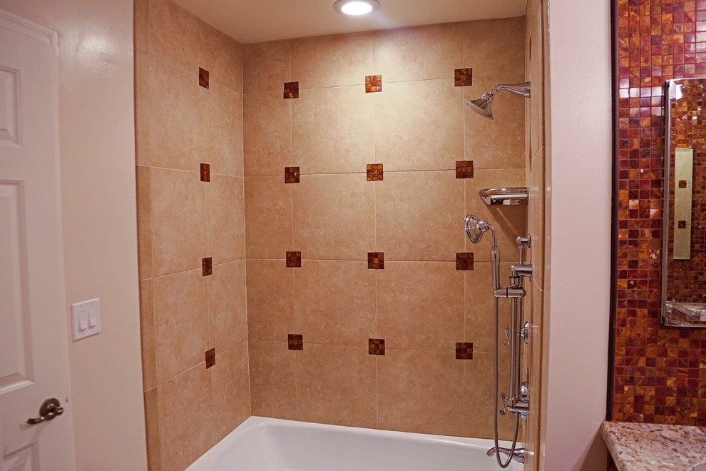 Large elegant master beige tile travertine floor bathroom photo in Phoenix with an undermount sink, dark wood cabinets, granite countertops, a two-piece toilet and beige walls