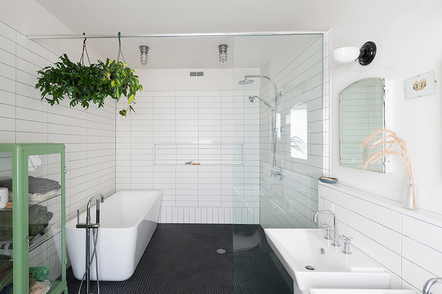 Example Of An Urban Black And White Tile Mosaic Tile Floor And Black Floor  Bathroom Design