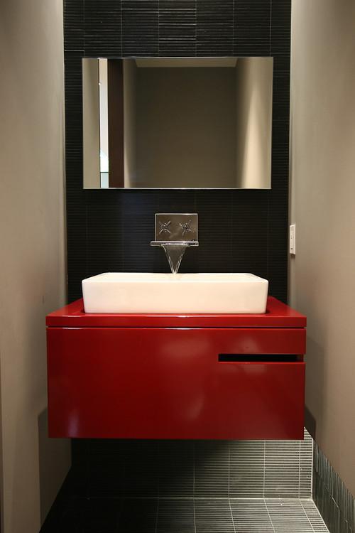 neo metro toilet credit margarit kady quality bath customer: bathroom black red white