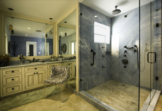 Example Of A Tuscan Blue Tile And Marble Tile Bathroom Design In Miami With  Raised  Awesome Design