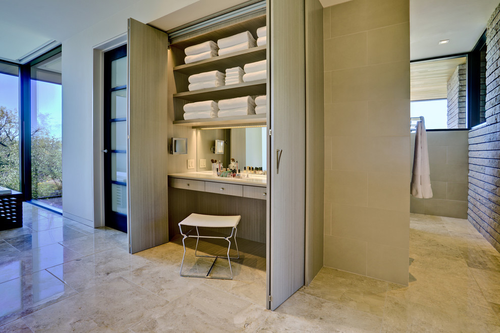 Trendy beige tile bathroom photo in Phoenix with open cabinets and light wood cabinets