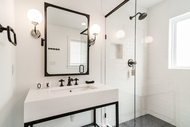 Corner shower - beach style 3/4 white tile and subway tile corner shower idea in Other with open cabinets, white walls and an undermount sink