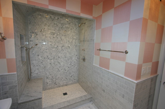 Pink and gray bathroom traditional bathroom chicago for Pink and grey bathroom decor