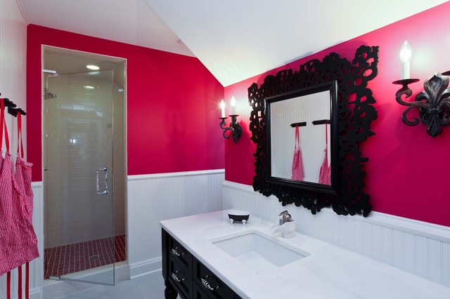 Elegant White Tile Bathroom Photo In Minneapolis With Black Cabinets And Pink Walls