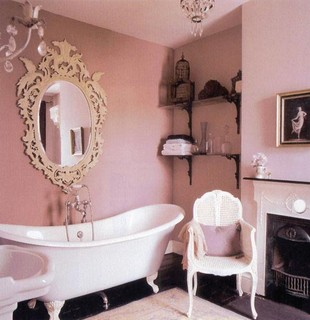 Pink bathroom- apartment therapy eclectic bathroom