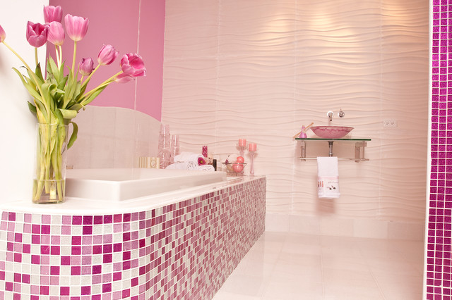 Exceptional Pink Glitter Bathroom Contemporary Bathroom