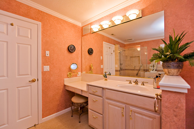Pink Master Bathroom, short wall for toilet privacy, makeup counter traditional-bathroom