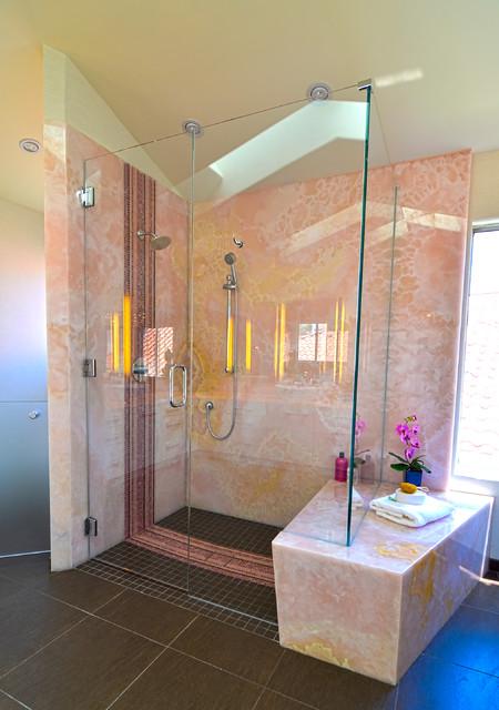 Pink Onyx Ying No Yang Modern Bathroom San Diego
