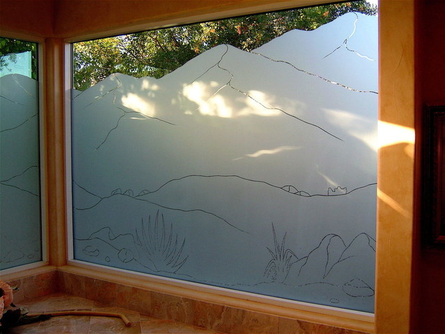 PINSTRIPE MOUNTAINS Bathroom Windows   Frosted Glass Designs Privacy Glass  Bathroom