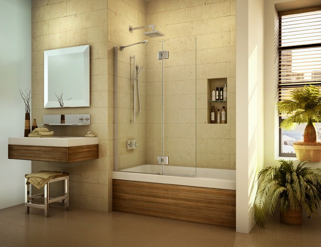 Pivoting tub shield or tub screen - Contemporary - Bathroom ...
