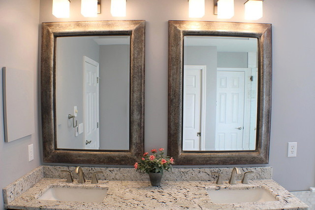 Plank and Marble Master Bath transitional-bathroom