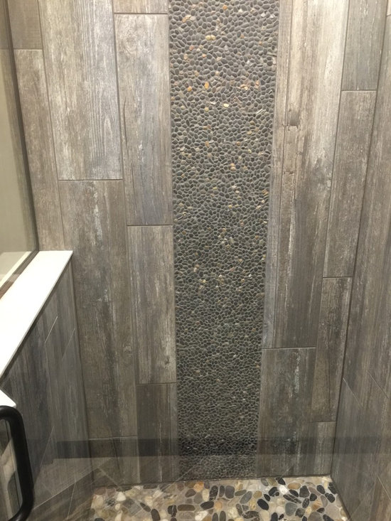 Rustic Bath Design Ideas, Pictures, Remodel & Decor with Gray Tile