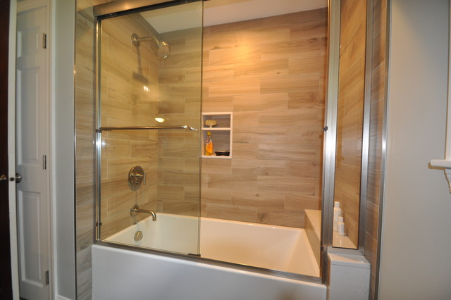 Plank tile tub surround contemporary bathroom boston by design 1 kitchen bath - Tile shower surround ideas ...