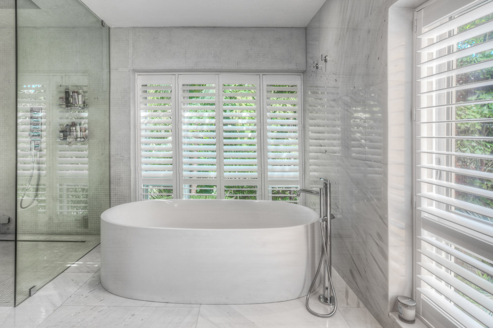 Bathroom - large contemporary master porcelain tile bathroom idea in Other with white walls