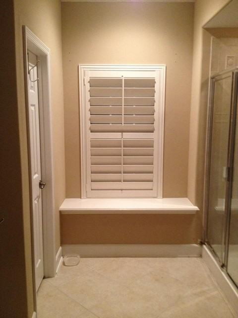 Plantation shutters traditional bathroom other metro - Plantation shutters for bathroom ...