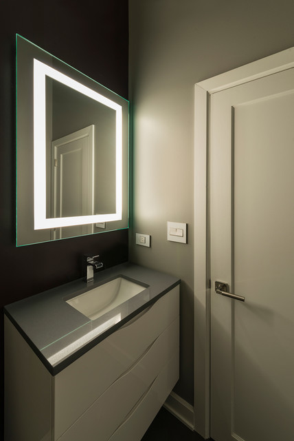 plaza small dimmable mirror by edge lighting contemporary bathroom