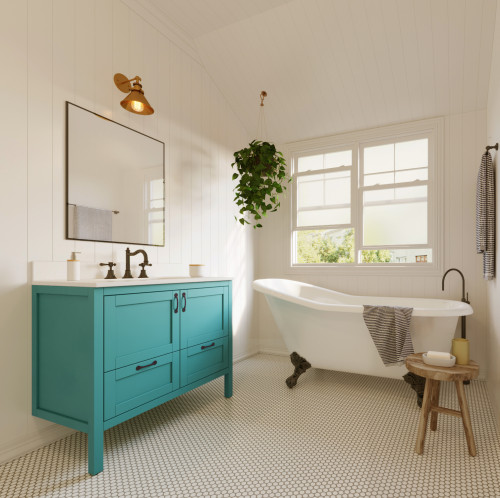 blue vanity in all white bathroom