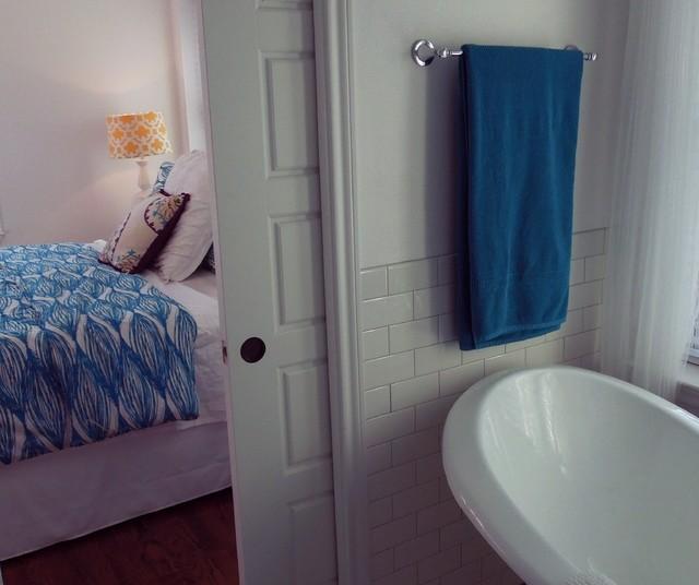 Pocket door in master bath craftsman bathroom dallas for Master bathroom pocket door