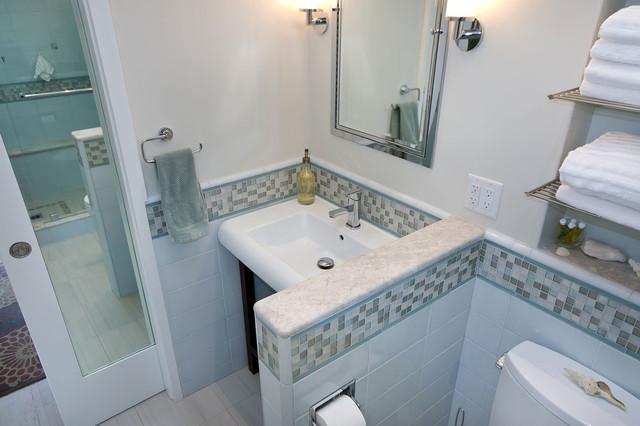 Pocket Door With Mirror Tropical Bathroom San