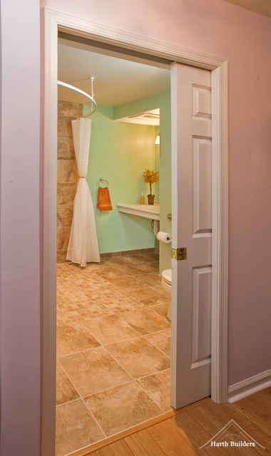 Pocket Doors Help Save Space traditional-bathroom