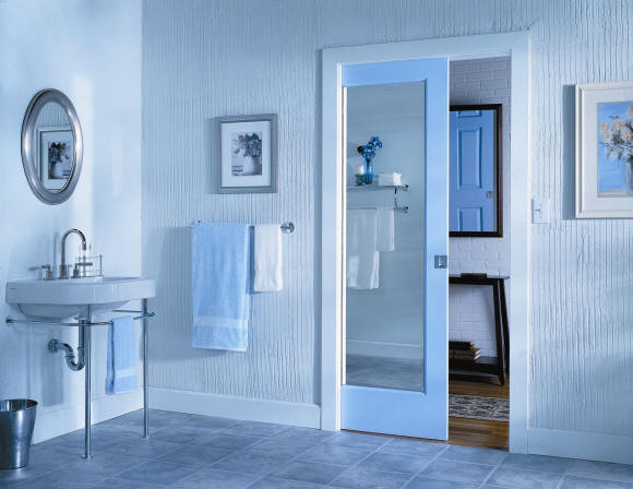 Pocket Doors Contemporary Bathroom