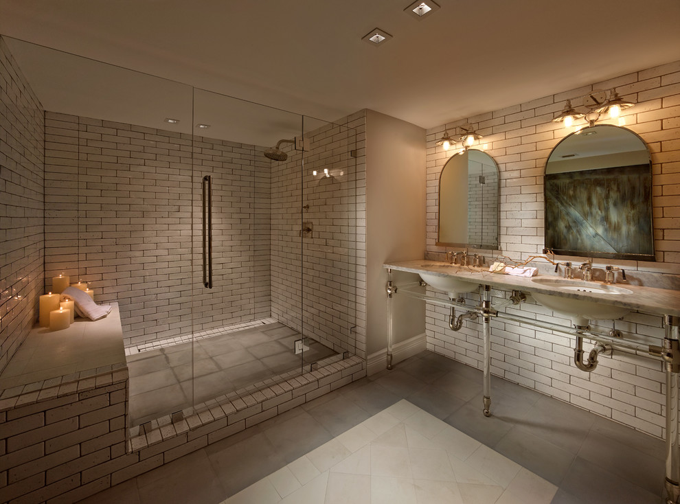 Example of a transitional bathroom design in Miami