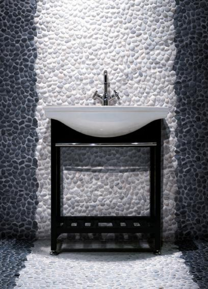 Polished Black Pebble Tile and Off White Pebble Tile Wall modern bathroom. Polished Black Pebble Tile and Off White Pebble Tile Wall   Modern