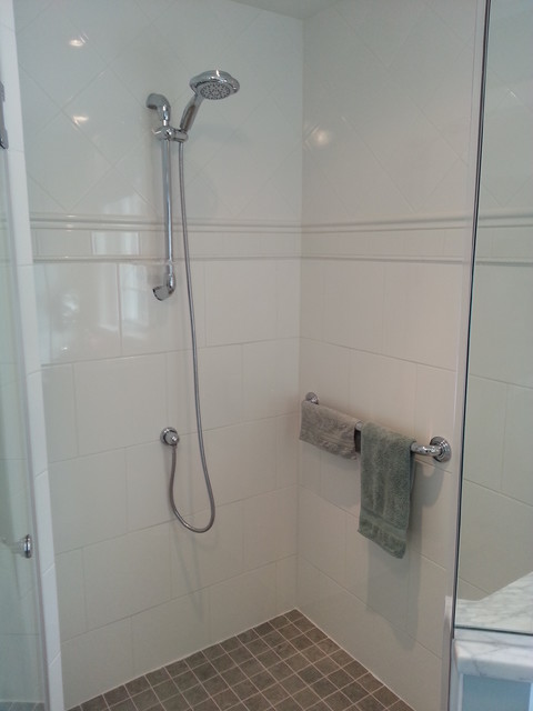 Polished Chrome Shower Fixtures And Grab Bar Traditional