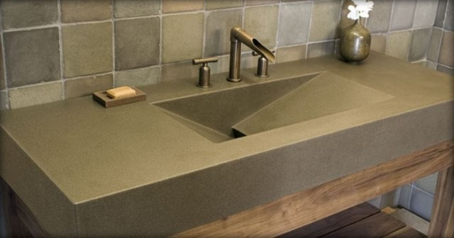 Polished Concrete Sink modern bathroom
