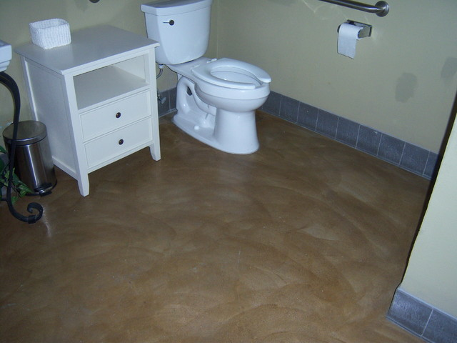 Polished Concretet Flooring In Bathroom Modern Bathroom Orange County By Concrete Solutions