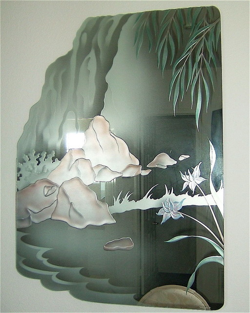 Rivers Streams Decorative Mirror With Etched Carved Design Bathroom Other By Sans Soucie Art Glass