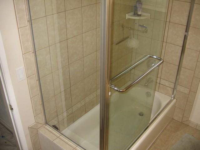 Pony Wall Bath & Corner Shower Doors traditional-bathroom