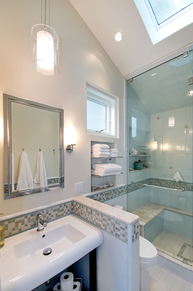 Inspiration for a contemporary alcove shower remodel in San Francisco