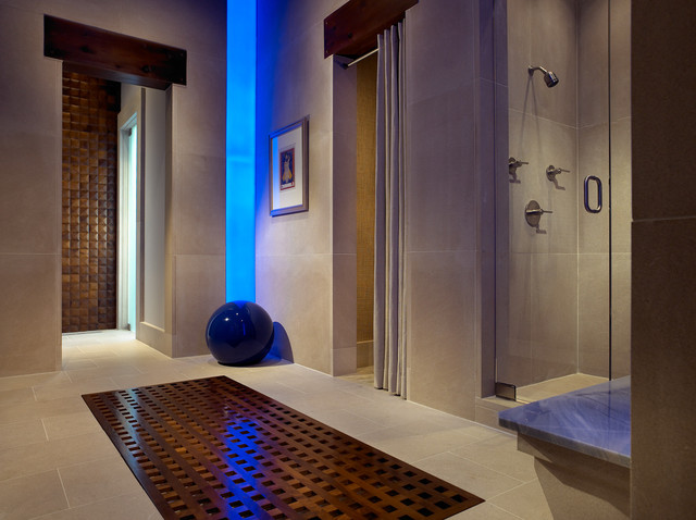 Pool House & Wine Cellar modern bathroom