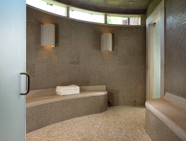 Pool House & Wine Cellar - Contemporary - Bathroom ...