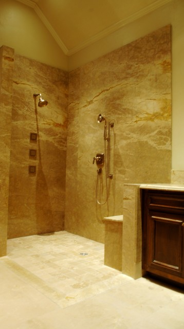 Popular Marble Slab Shower Contemporary Bathroom
