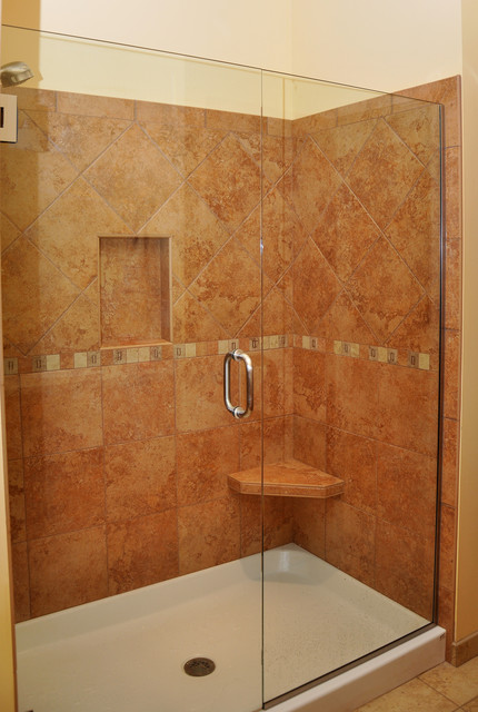 Genial Porcelain Shower With Seat And Shelf Traditional Bathroom