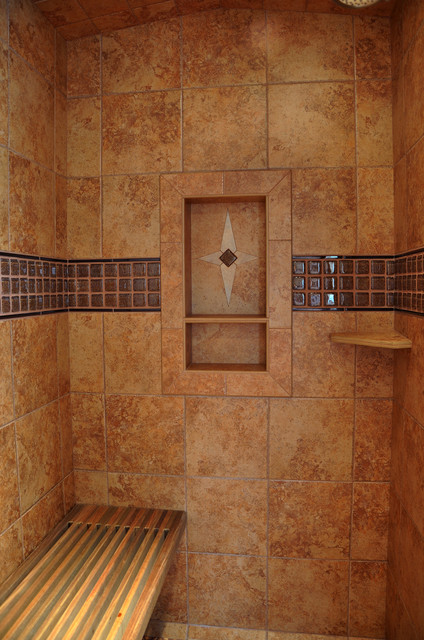 Porcelain Shower With Shelf Traditional Bathroom
