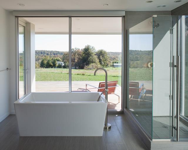 Example of a minimalist freestanding bathtub design in Kansas City