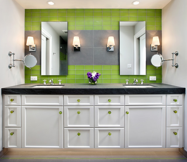 Example of a trendy kids' green tile and glass tile bathroom design in San Francisco with an undermount sink, shaker cabinets and white cabinets
