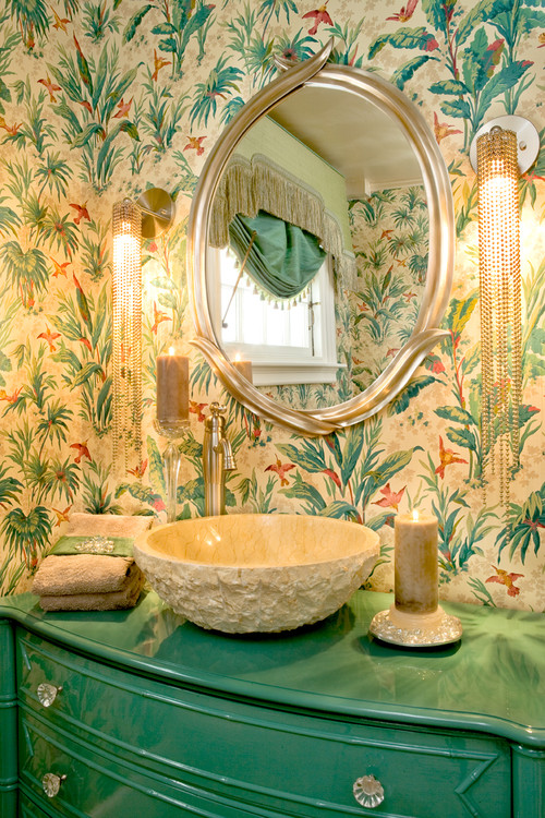 Tropical Inspired Bathroom in Cream and Green